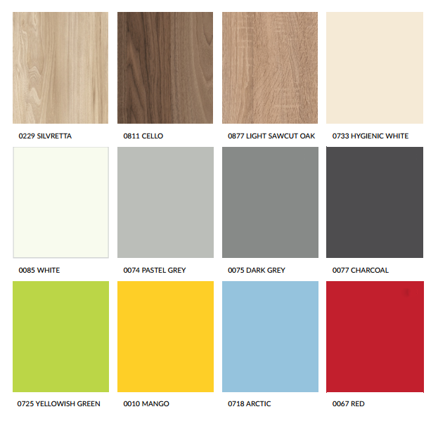 Colour and finishes Choose from our impressive standard range of colours and finishes shown below. Or if you are looking for something more unique or bespoke for your facilities, we have an extended range available. For more details or advice please contact our dedicated sales team.