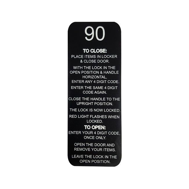 Numbered Plaque with 3780 & 3781 Lock Instructions – 135mmH x 50mmW
